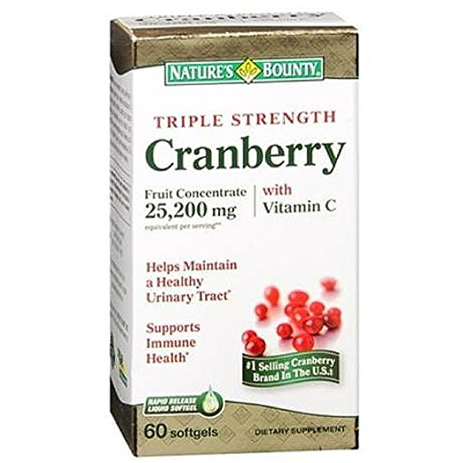 Nature's Bounty Cranberry Fruit Concentrate 25,200 mg w/Vit c - 60 Softgels