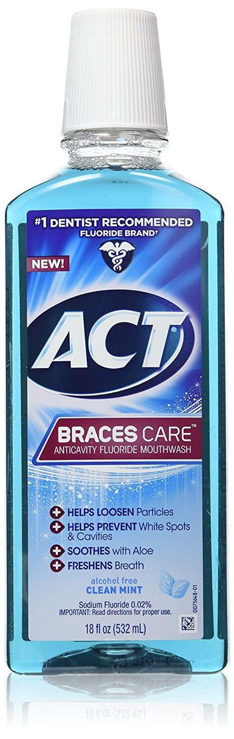ACT Braces Care Anticavity Fluoride Mouthwash - 18 Fl Oz (532 mL)