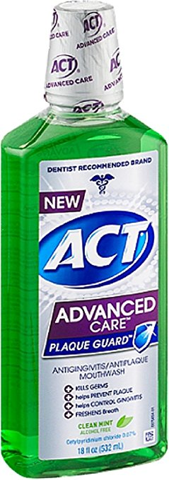 ACT Advanced Care Plaque Guard Clean Mint - 18 Fl Oz (532 mL)