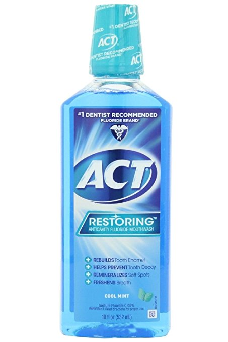 ACT Restoring Anticavity Fluoride Mouthwash Cool Mint - 18 Fl Oz (532 mL)
