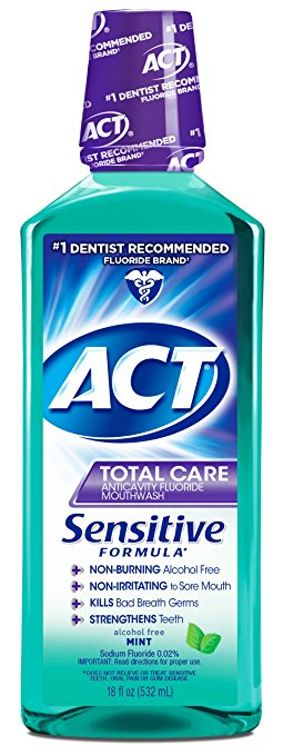 ACT Total Care Anticavity Fluoride Mouthwash Sensitive Formula Mint - 18 Fl Oz (532 mL)