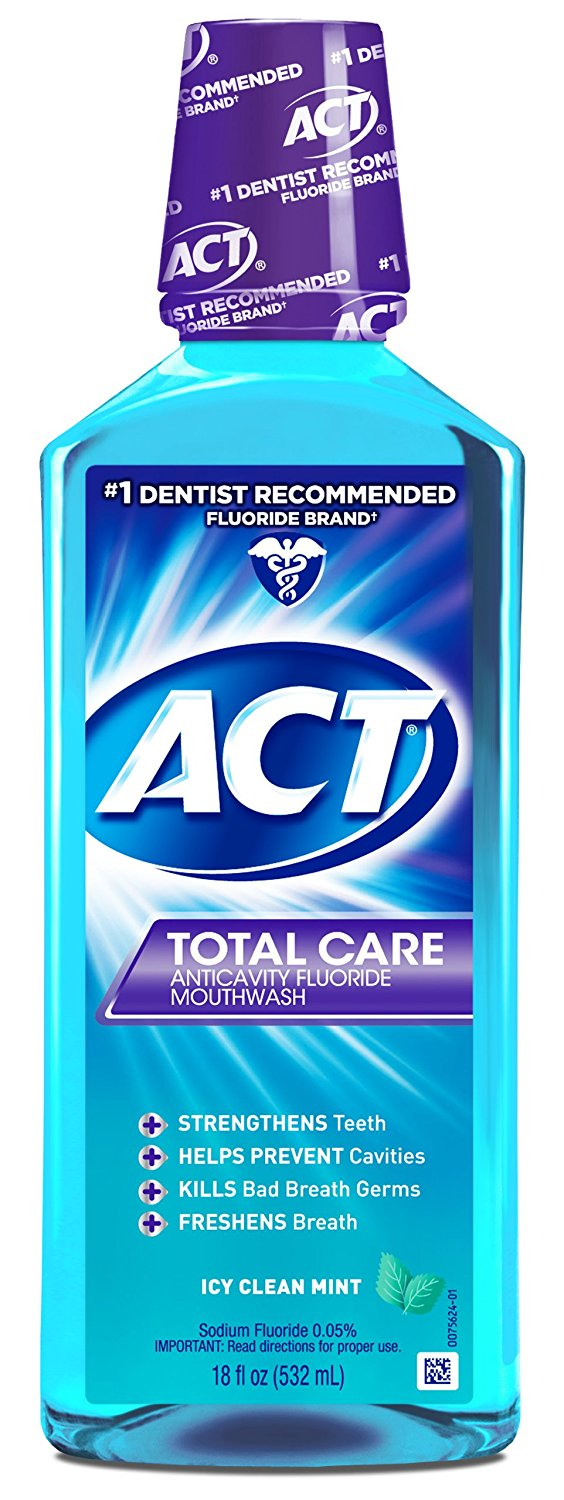 ACT Total Care Anticavity Fluoride Mouthwash Icy Clean Mint - 18 Fl Oz (532 mL)