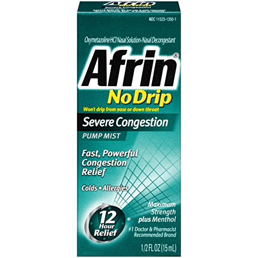Afrin No Drip Severe Congestion Pump Mist - 1/2 Fl Oz (15 mL)