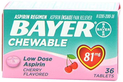 Bayer Chewable Low Dose Aspirin 81 mg Cherry Flavored - 36 Tablets