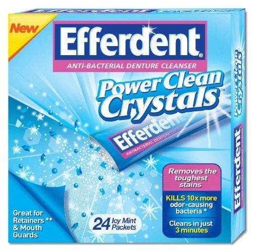 Efferdent Power Clean Crystals - 24 Icy Mint Packets