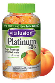VitaFusion Platinum 50+ Adult Vitamins Age Essential Multivitamin Natural Peach Flavor - 100 Gummies