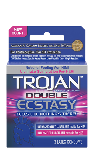 Trojan Double Ecstasy Latex Condoms - 3 CT