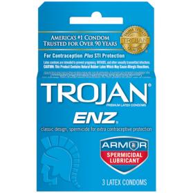 Trojan Enz Spermicidal Lubricated Condoms - 3 CT