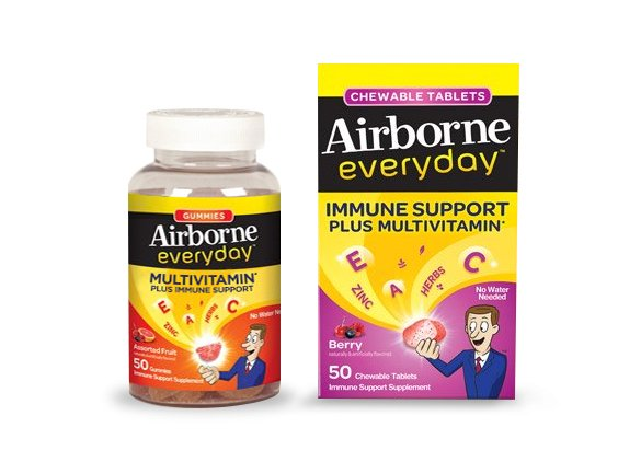 Airborne Everyday Immune Support Plus Multivitamin Berry Flavor - 50 Chewable Tablets